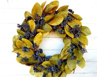 Magnolia Wreath-Fall Wreath-Christmas Wreath-Winter Wreath-Farmhouse Wreath-Holiday Door Wreath-Scented Wreath-Holiday Decor-Gift for Mom-