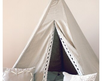 Linen Tee Pee with Lace Trim