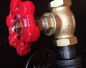 Steampunk towel holder/industrial coat rack/industrial hook/red valve/pipe decor/coat hook/pipe hook