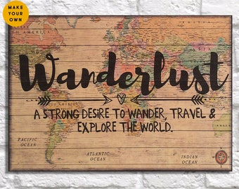 Dorm decor World map Wood wall art Wanderlust Travel Map gift for Men gift for Women gift for Best friend gift for her Panel effect wood art
