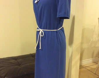 Vintage 1970's Romantic Blue Sailor Cotton Sun Dress