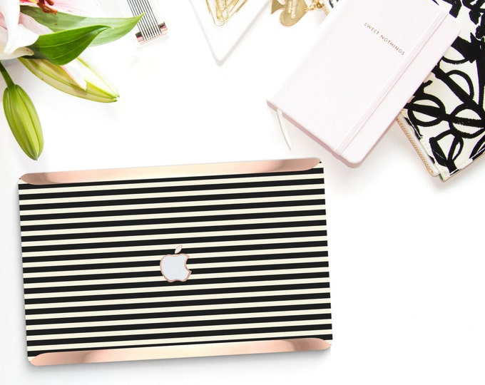 Featured listing image: Macbook Pro 13 Case Macbook Air Case Laptop Case Macbook Case . Black Stripes with Rose Gold Chrome Kate Spade Inspired- Platinum Edition