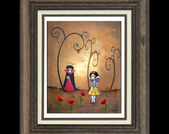 Whimsical Fairytale Art Print - Art  Prints and Posters Giclee  -- Snow White and The Evil Queen --