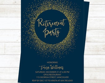 Retirement Party Invitation, Navy Gold Retirement Party Invitation, Gold Glitter Retirement Invitation, Farewell Party Invitation