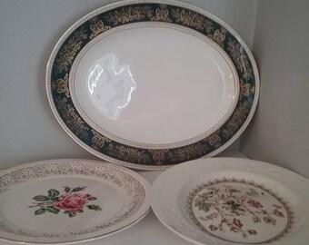 Serving Platters, Mismatched Serving Platters, Vintage Mismatched Platters, Garden Party Platters, Wedding Dinner Platters, Mixed Platters