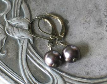Dark Mocha Glass Pearl Earrings