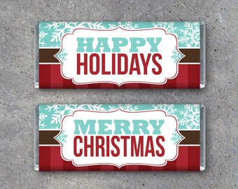 Happy Holidays AND Merry Christmas Candy Bar Wrappers – Printable Instant Download – For Christmas Party Favors, Christmas Cards and Gifts