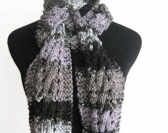 Multicolor Grey,Lilac and Black Cable and Lace Knit Scarf Vegan Knits Grey Knitted Scarf  Mens Scarf Womens Scarf Winter Scarf