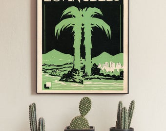 Los Angeles Print, LA Art Print, Los Angeles Art Deco Style Vintage Graphic, Palm tree pictures, LA Noir, La Deco, Old Hollywood, Vintage LA