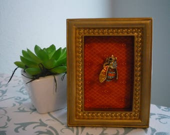 Colorful Vintage Bumble Bee Brooch - Wearable Framed Art