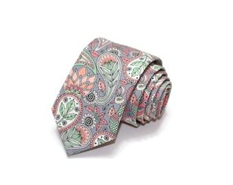 Mens Necktie~Blush and Gray Paisley Floral Mens Necktie~Cotton Necktie~Anniversary Gift~Wedding Tie~Slim Necktie~Blush, Gray, Coral, Mint