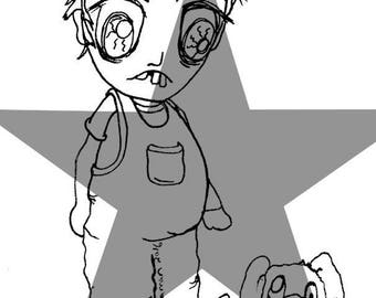 Odd boy & Dog digi image