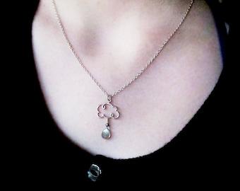 cloud gift, cloud pendant, cloud necklace, weather jewelry, cloud jewelry, rain cloud, raindrop pendant, raindrop necklace, weather necklace
