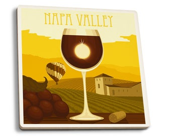 Napa Valley, CA Wine Glass & Vineyard - LP Artwork (Set of 4 Ceramic Coasters)