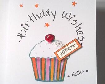 Handmade Birthday Wishes Cupcake Card.