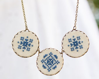 Casual necklace with cross stitch embroidery, n028
