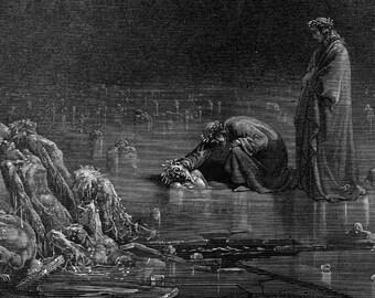Dante Addresses Traitor Bocca Degli Abati Inferno Canto 32 Gustave Dore Vintage Engraving To Frame Hell Black & White