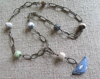 blue bird necklace, long necklace, antique brass necklace, porcelain necklace, artisan necklace, unique necklace, blue and cream necklace