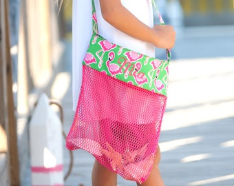Beach Bag| Seashell Tote| Seashell Mesh Bag| Girls Beach Bag| Shell Collecting Bag| Personalized Bag|Monogram Tote| Kids Tote| Flamingo
