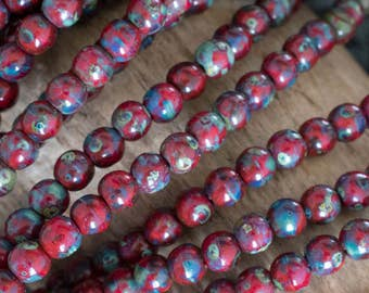 4mm Opaque Red Picasso Druk Beads -3962 - Opaque Red Picasso Smooth Round Czech Glass Druk Beads - 100 Beads