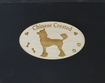 Cute Original Design Chinese Crested Wood Magnet