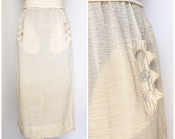 Late Edwardian - Early 1920s Textured Rayon Sport Skirt with original belt - True Vintage
