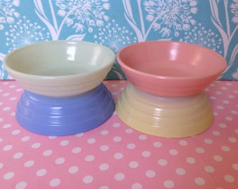 Pastel glass bowls, Hazel Atlas, Moderntone, ridged bowls, beehive bowls, berry bowls, small bowls, pink, mint green, baby blue, yellow