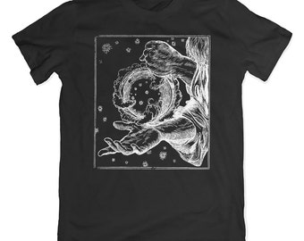 Edmund Sullivan Rising Moon T-Shirt. Mystical Fantasy Tee. Vintage Illustration Shirt.