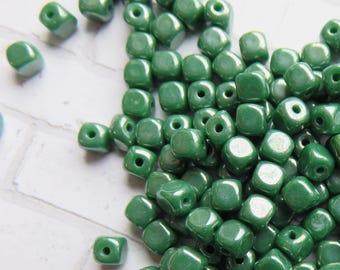 Opaque Luster Green Czech Glass 4mm Cubes, 50 Beads  - Item 3698