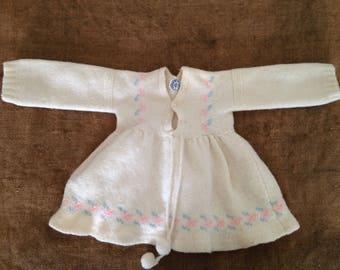 Baby dress wool brand log Peck, 1 month. Vintage 1950's