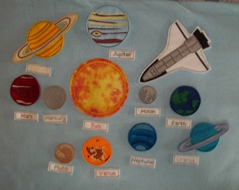Outer Space Solar System Universe Learn Teach Play set 11 Planets, Space Shuttle and labels for each planet