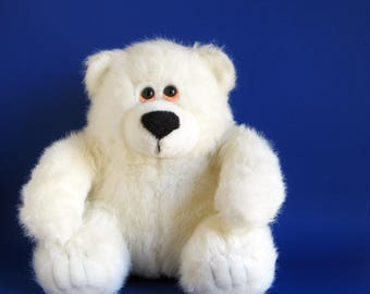 Vintage Teddy Bear Stuffed Animal AMERICA WEGO Fiesta Concession White Bear 1990s Toys Polar Bear