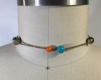 Vintage choker colorful glass beads
