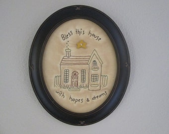 Embroidered Wall Art - Framed Wall Art - Country Room Accent - Cottage Stitchery - Spring Wall Accent - Gift for Mom - Cottage Decoration