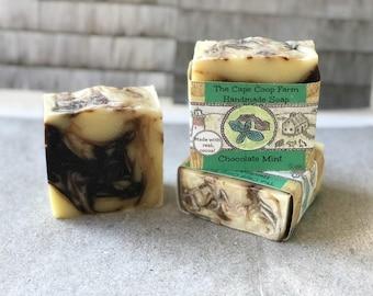 Chocolate Mint soap, handmade soap, essential oil