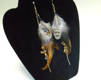 Genuine Tiger's Eye, with Natural Pheasant Feather, Drop Dangle Earrings, Boho, Statement, Nickel Free, Hook Earrings