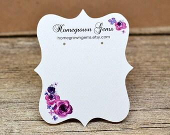 Fancy Cut Custom Designed Earring Cards Jewelry Ornate Watercolor Flower Floral