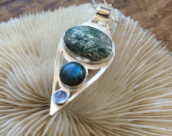 Sterling Silver Healing Necklace with Agate and Labradorite