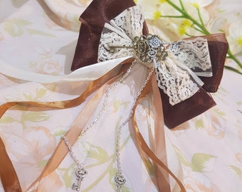 Lolita steampunk hair bow. Keys. Gothic. Vintage