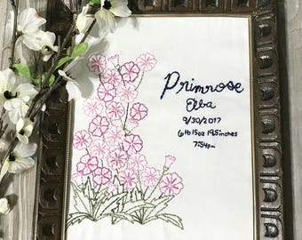 Primrose Frameable Embroidery Art - Personalized Nursery Gift - Baby Shower Gift  - Baby Measurements Gift