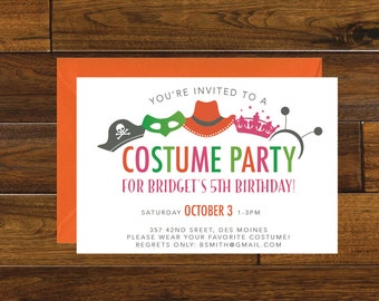 Kids costume party birthday invitation chalkboard halloween costume party birthday invitation digital download stopboris Choice Image