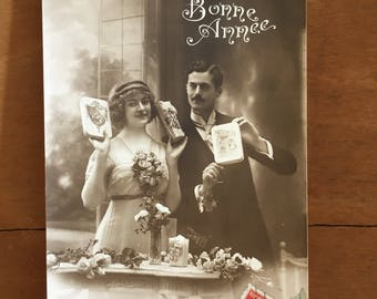 Vintage French Postcard - Bonne Annee - Happy New Year