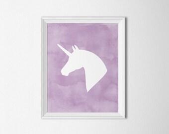 Unicorn printable, Unicorn Wall art, Lilac art print, purple nursery decor, pastel nursery, watercolor unicorn, watercolor nursery decor