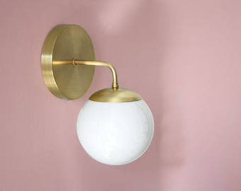 Brass Globe Sconce • Leo • Clean modern brass and opal glass wall lamp • Modern sconce • Brass Light Fixture • Vintage Design Sconce