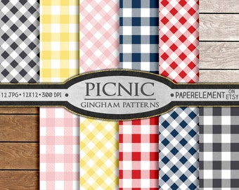 Gingham Digital Paper - Seamless Patterns - Buffalo Check Picnic Tablecloth - Gingham Plaid Backgrounds Gray, Yellow, Red, Navy Blue, Pink