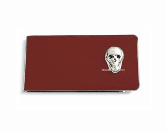 Skull Money Clip Inlaid in Hand Painted Glossy Oxblood Enamel Gothic Victorian Money Holder Personalized and Color Options