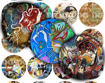 """Kandinsky Abstract Art Digital Collage Sheet Round 2"""" 50mm 1.5"""" 1.25"""" 30mm 1"""" 25mm - DIY bottlecaps, gift tags, pendants, buttons, charms"""