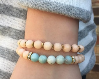 Peach Jade and Amazonite Bracelet with gold rhinestone accent