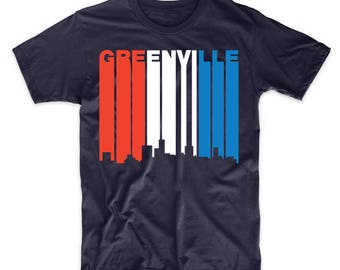 Retro Style Red White And Blue Greenville South Carolina Skyline T-Shirt