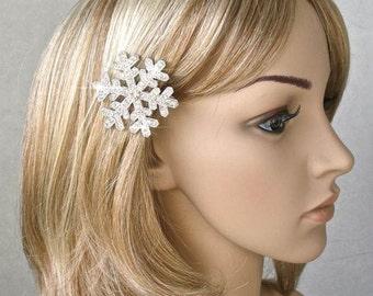 Handmade Crystal Rhinestone Sivlertone Snowflake Hair Clip, Bridal, Wedding (Sparkle-1814)